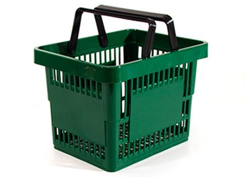 Einkaufskorb Kunststoff quadratisch grün 13 Liter